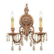 Novella Large Double Sconce With Golden Teak Crystals In Olde Brass (item #RS-03CR-2802-OB-GT-MWP)