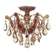 Maria Theresa Small Semi Flush Mount With Golden Teak Crystals In Antique Brass (item #RS-03CR-4430-AB-GT-MWP)