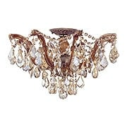 Maria Theresa Semi Flush Mount With Golden Teak Crystals In Antique Brass (item #RS-03CR-4437-AB-GT-MWP)
