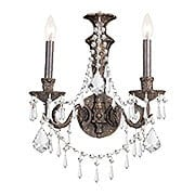 Biltmore Iron & Crystal Double Sconce With English Bronze Finish (item #RS-03CR-5162-EB-CL-MWP)