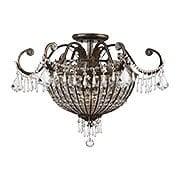 Vanderbilt Iron & Crystal Large Semi-Flush Mount With English Bronze Finish (item #RS-03CR-5165-EB-CL-MWP)