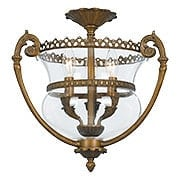 English Regency Solid Brass Ceiling Light With Clear Glass Bell Shade (item #RS-03CR-5791-AB)