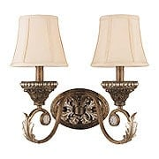 Roosevelt Gilt Iron Double Sconce With Crystal Bead Accents (item #RS-03CR-6722-WP)