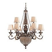 Roosevelt Gilt Iron 9 Arm Chandelier With Crystal Bead Accents (item #RS-03CR-6729-WP)