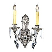 Baroness 2 Light Crystal Sconce With Polished Silver Finish (item #RS-03FR-1142-PS)