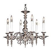 Kensington 6 Light Chandelier In Brass or Silver Finishes (item #RS-03FR-7446X)