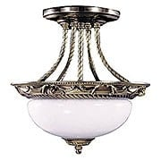 Napoleonic Semi-Flush Ceiling Light In French Brass (item #RS-03FR-8397-FB)