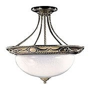 Napoleonic Large Semi-Flush Ceiling Light In French Brass (item #RS-03FR-8399-FB)