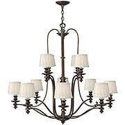 Dunhill 12 Light Two Tier Chandelier In Royal Bronze With Pleated Fabric Shades (item #RS-03HK-4599RY)