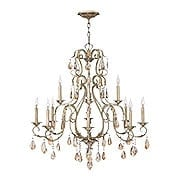 Carlton 12 Light Chandelier With Silver Leaf Finish (item #RS-03HK-4778SL)