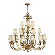 Plantation Three Tier Chandelier With Silk Shades (item #RS-03HK-4889X)
