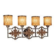 Terraza Villa Torchiere Four Light Bath Sconce With Spumanti Strato Glass Shades (item #RS-03ML-N2494-270)