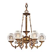 English Victorian 6 Light Chandelier With Etched Glass Shades (item #RS-03ML-N801906)