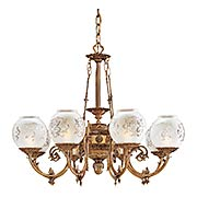 English Victorian 8 Light Chandelier With Etched Glass Shades (item #RS-03ML-N801908)