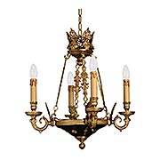 French Empire 4 Light Chandelier In Dore Gold & Black (item #RS-03ML-N850204)