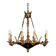 French Empire 8 Light Chandelier In Dore Gold & Black (item #RS-03ML-N850209)