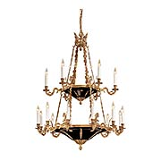 French Empire 2 Tier 18 Light Chandelier In Dore Gold & Black (item #RS-03ML-N850220)
