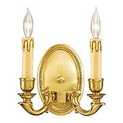 Oval Beaded Double Sconce In French Gold Finish (item #RS-03ML-N9809-FG)