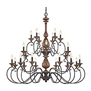 Auburn Two Tier 24-Light Chandelier (item #RS-03QZ-ABN5024RK)