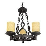 La Parra 3 Light Chandelier With Amber Glass Candles (item #RS-03QZ-LP5003IB)
