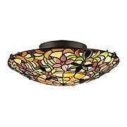 Kami Art Glass Flush Mount In Vintage Bronze (item #RS-03QZ-TF1396SVB)