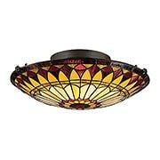 West End Art Glass Flush Mount In Vintage Bronze (item #RS-03QZ-TF1400SVB)