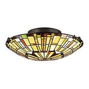 Reed Stained Glass Flush Mount In Vintage Bronze (item #RS-03QZ-TF1408SVB)