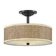 Rattan Drum Shade Semi Flush Mount With Mystic Black Finish (item #RS-03QZ-ZE1717K)
