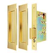 Premium Passage Pocket-Door Mortise Lock Set with Rectangular Pulls (item #RS-06UN-FH27PD8010X)