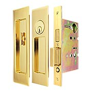 Premium Keyed Pocket-Door Mortise Lock Set with Rectangular Pulls (item #RS-06UN-FH27PD8450X)
