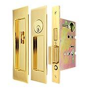 Premium Keyed Pocket-Door Mortise Lock Set with Rectangular Pulls (item #RS-06UN-FH27PD8450X)