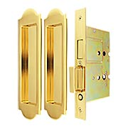 Premium Dummy Pocket-Door Mortise Lock Set with Arched Pulls (item #RS-06UN-FH31PD8115X)