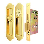 Premium Keyed Pocket-Door Mortise Lock Set with Arched Pulls (item #RS-06UN-FH31PD8450-TT09X)