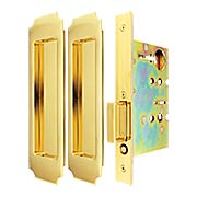 Premium Passage Pocket-Door Mortise Lock Set with Chamfered Corner Pulls (item #RS-06UN-FH32PD8010X)