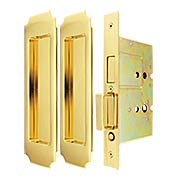 Premium Dummy Pocket-Door Mortise Lock Set with Chamfered Corner Pulls (item #RS-06UN-FH32PD8115X)