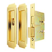 Premium Patio Pocket-door Mortise Lock set with Chamfered Corner Pulls (item #RS-06UN-FH32PD8460X)