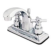Delray Centerset Bathroom Faucet with Bauhaus Cross Handles and Stepped Rosettes (item #RS-07KB-KS464EXX)