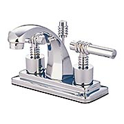 Delray Centerset Bathroom Faucet with Ringed Bauhaus Levers (item #RS-07KB-KS464MLX)