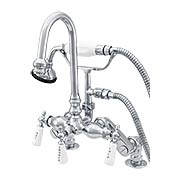 Shasta Rim-Mount Clawfoot Tub Faucet with White Porcelain Levers and Hand Shower (item #RS-07SC-P0684X)