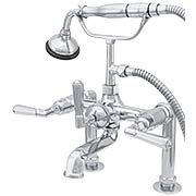 Mississippi Deck-Mount Clawfoot Tub Faucet with Hexagonal Levers and Hand Shower (item #RS-07SC-P1009X)