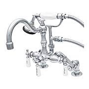 Deschutes Rim-Mount Clawfoot Tub Faucet with White Porcelain Levers (item #RS-07SC-P1054X)