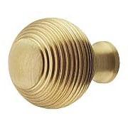 Solid-Brass Reeded Round Knob - 1 1/4