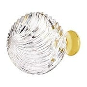 Lead Free German Crystal Swirl Etched Globe Knob With Solid Brass Base (item #RS-08CCC-M30SX)