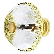 Lead-Free Multifaceted Round Crystal Knob with Solid Brass Base (item #RS-08CCC-M35AX)