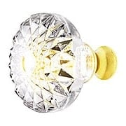 Lead Free German Crystal Round Etched Knob With Solid Brass Base (item #RS-08CCC-M993X)