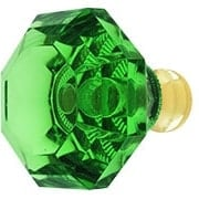 Green Lead-Free Octagonal Crystal Knob with Solid Brass Base (item #RS-08CCC-M994-GREENX)