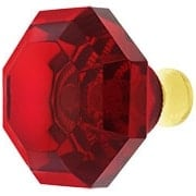 Red Lead-Free Octagonal Crystal Knob with Solid Brass Base (item #RS-08CCC-M994-REDX)