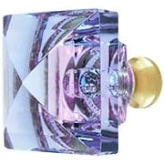 Blue to Lavender Lead-Free Square Crystal Knob with Solid Brass Base (item #RS-08CCC-M995-ALEXX)