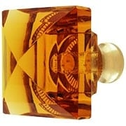 Amber Lead-Free Square Crystal Knob with Solid Brass Base (item #RS-08CCC-M995-AMBERX)