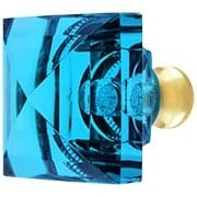 Aqua Lead-Free Square Crystal Knob with Solid Brass Base (item #RS-08CCC-M995-AQUAX)